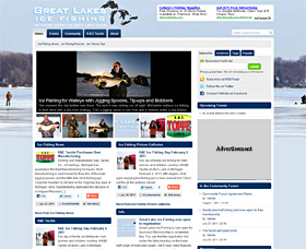 Screen shot of the community WordPress site GreatLakesIceFishing.com